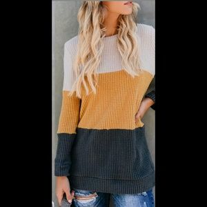 Sweaters - Coming soon! Mustard color block waffle knit top